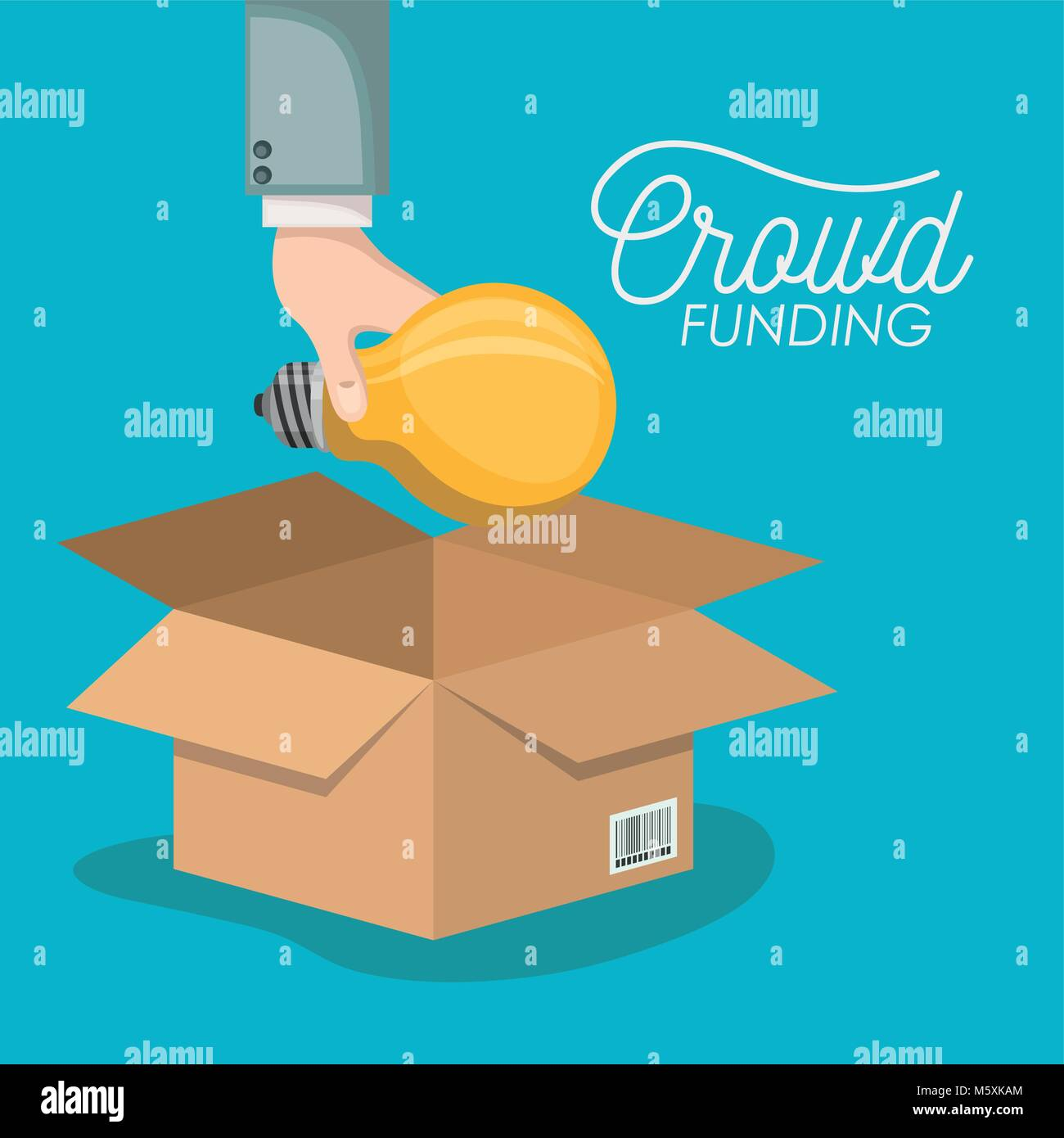 crowd funding poster with hand depositing bulb in cardboard box in blue background - Stock Image