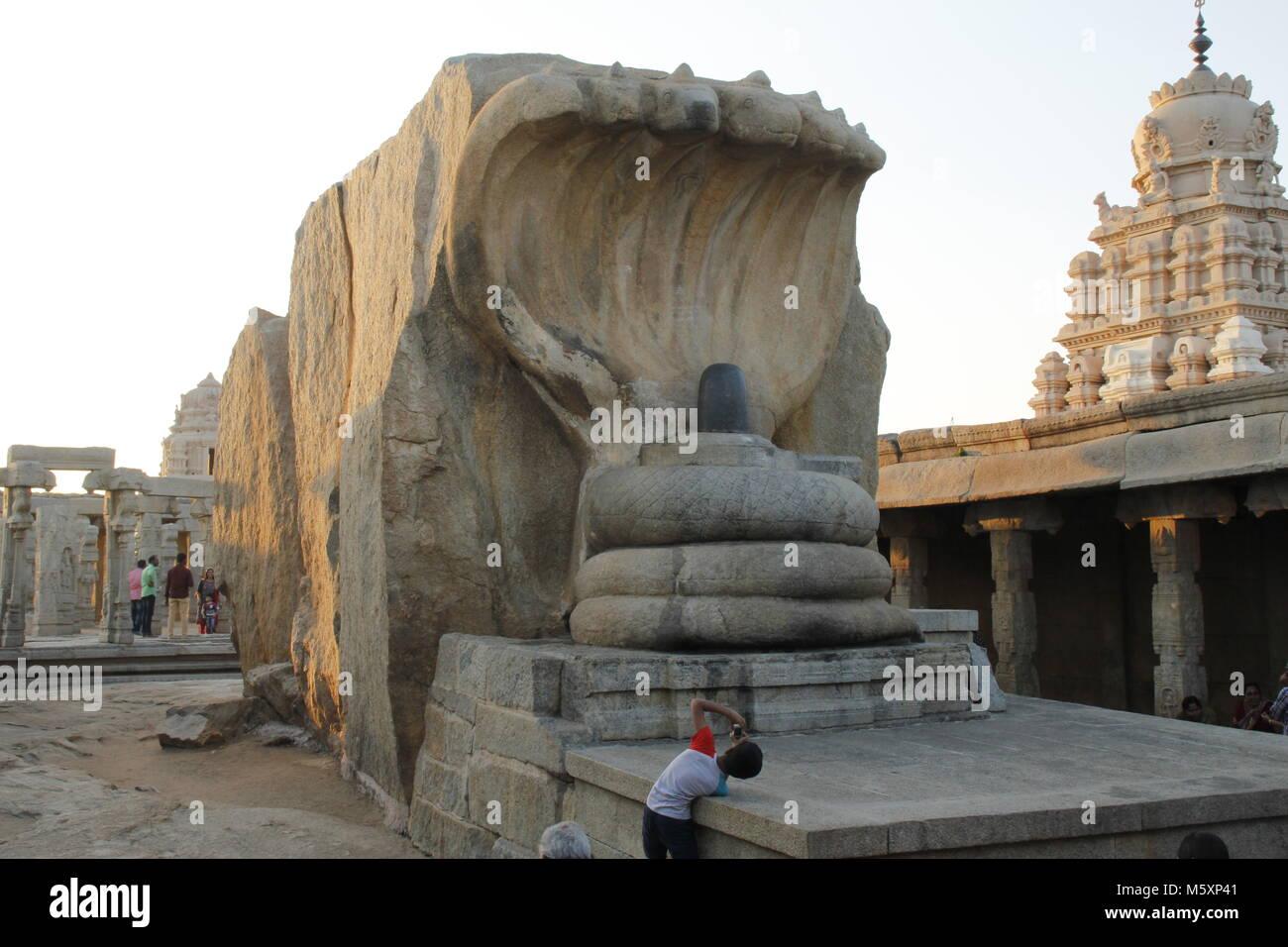 Monolithic hooded serpent guarding the linga at Lepakshi Temple, Andhra Pradesh, India - Stock Image