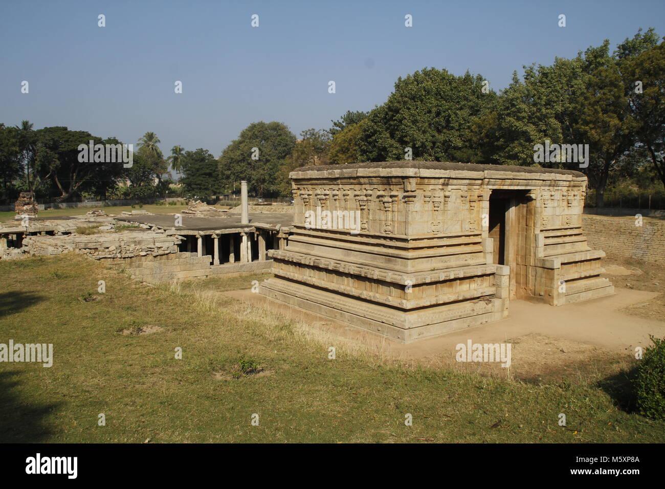 The submerged shiva temple at Hampi - Stock Image