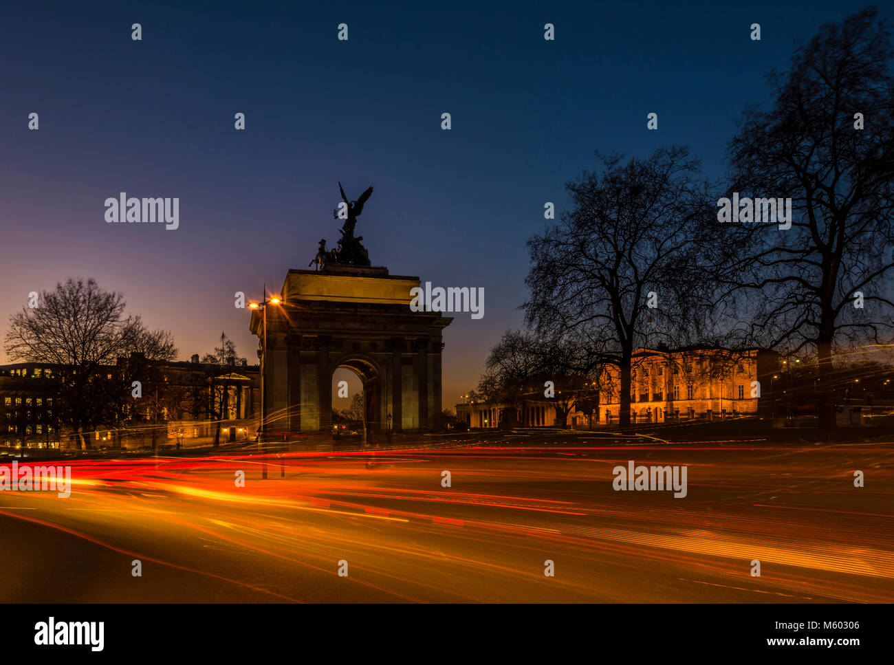 The Wellington Arch after Sunset, Hyde Park Corner, London, UK - Stock Image