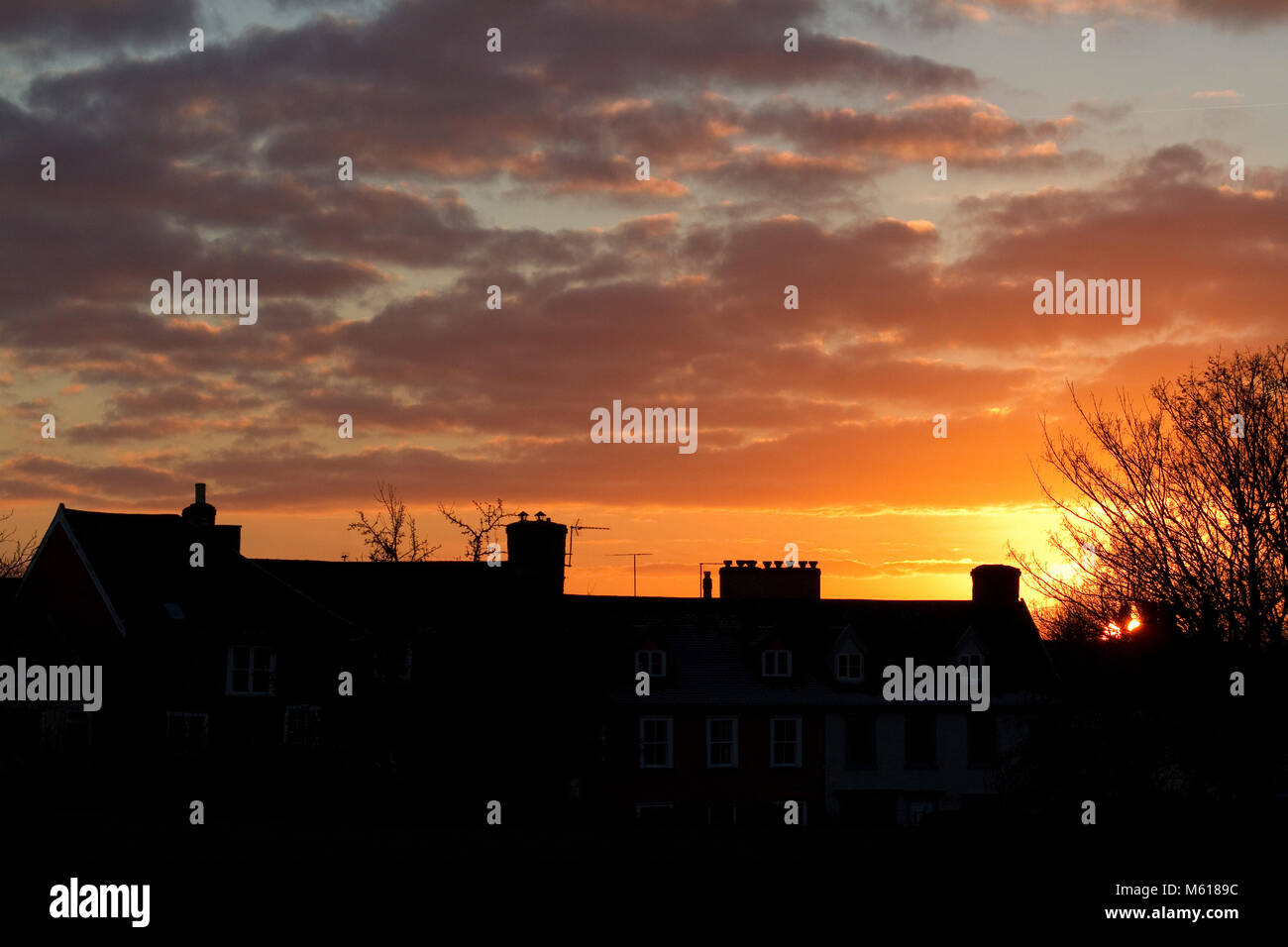 Rooftops against a spectacular Suffolk sunset - Stock Image