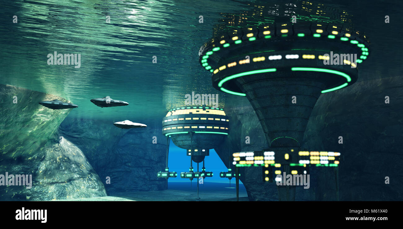 Several spaceships leave an underwater alien city hidden in a coastal cave system here on Earth. - Stock Image