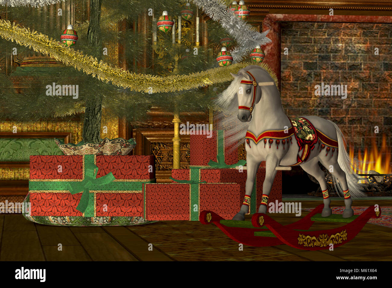 A rocking horse awaits its new rider on Christmas morning under the decorated tree in front of a Victorian fireplace. - Stock Image