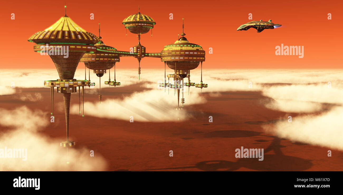 A Mars planet colony in the upper atmosphere orbits around the red planet as Earth scientists study it. - Stock Image