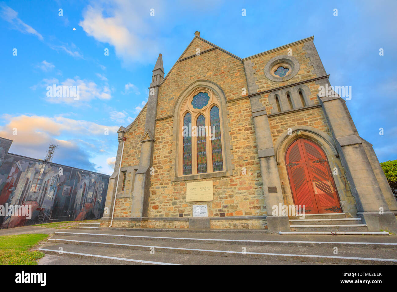 Albany, Australia - Dec 28, 2017: facade of Scots Uniting Church or Scots Presbyterian Church, in Victorian Gothic - Stock Image