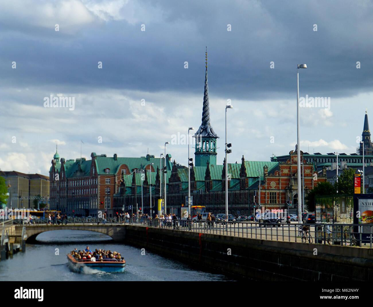 View of Copenhagen with Borsen from riverside, summer - Stock Image