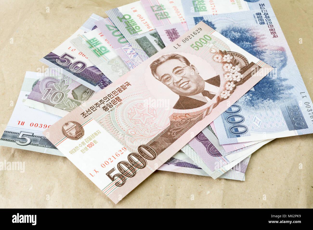 North Korean Bank Notes Stock Photo