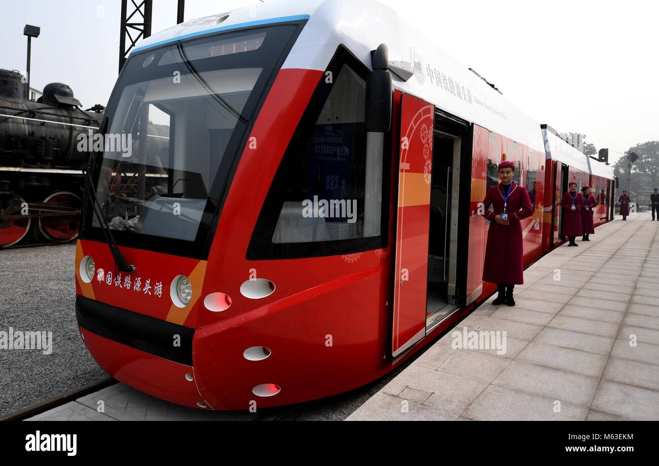(180228) -- BEIJING, Feb. 28, 2018 (Xinhua) -- A tram powered by hydrogen fuel cells is seen in Tangshan, north - Stock Image