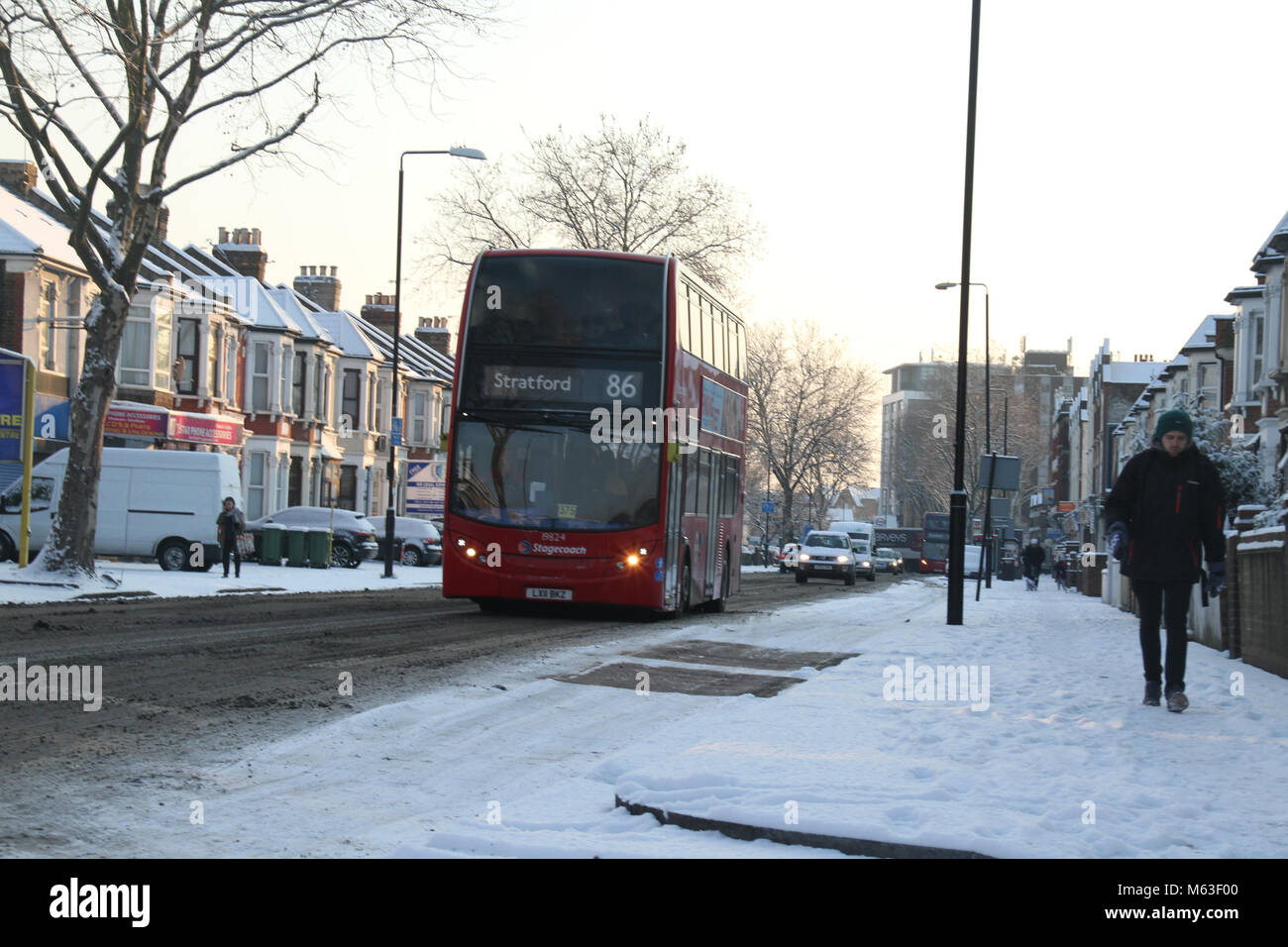 LONDON, UK - February 28: Streets of East London were covered with snow following  a shower on 28 February. The - Stock Image