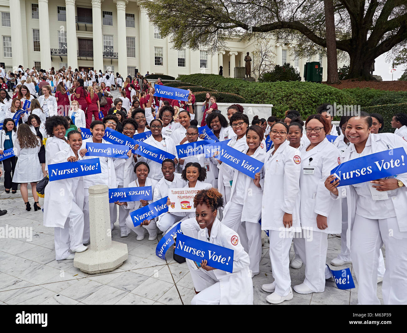 Montgomery, Alabama, USA. 28th February, 2018 Alabama nurses day at the capitol kicks off with a rally on the capitol - Stock Image