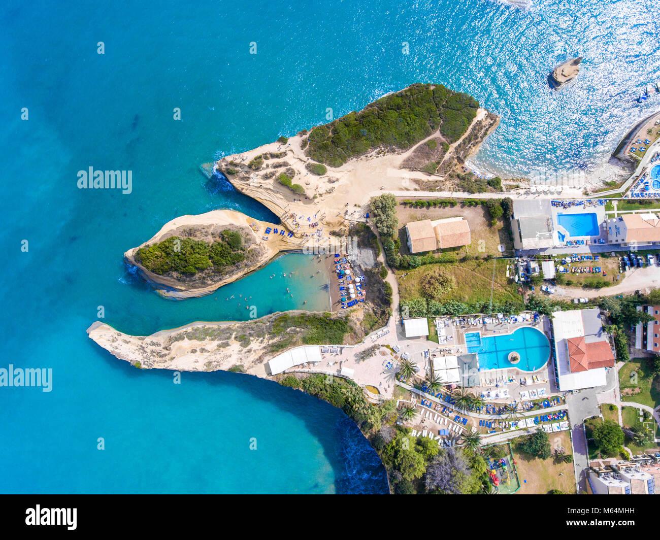 Canal D'Amour beach in Sidari, Corfu island, Greece. People bathing in the sun. Turqoise water. Stock Photo