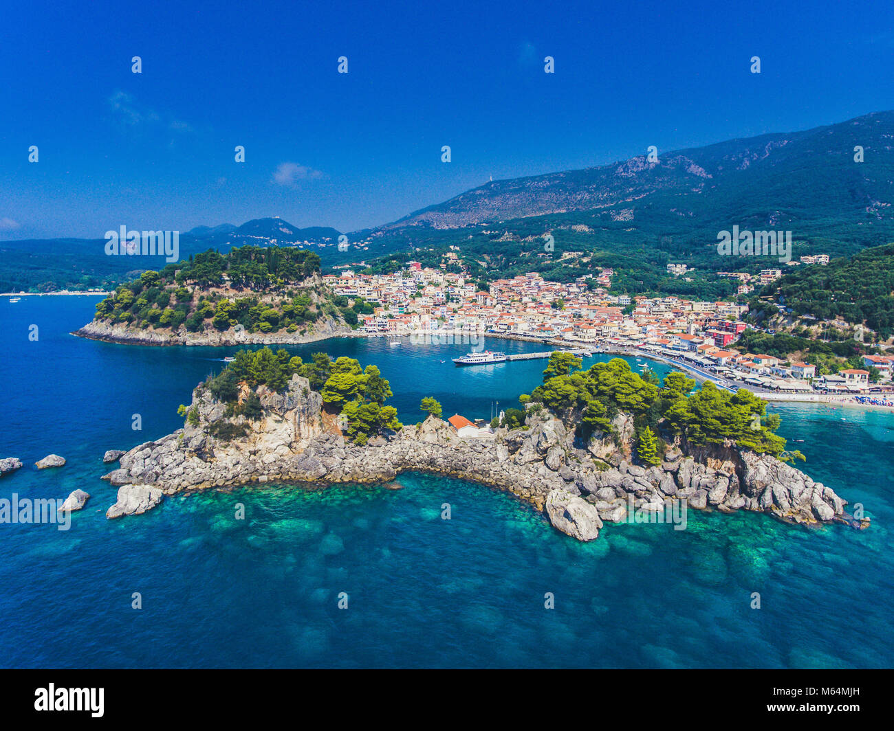 Parga and Panagia Island aerial view. Important tourist destination on the east coast of Greece. Stock Photo