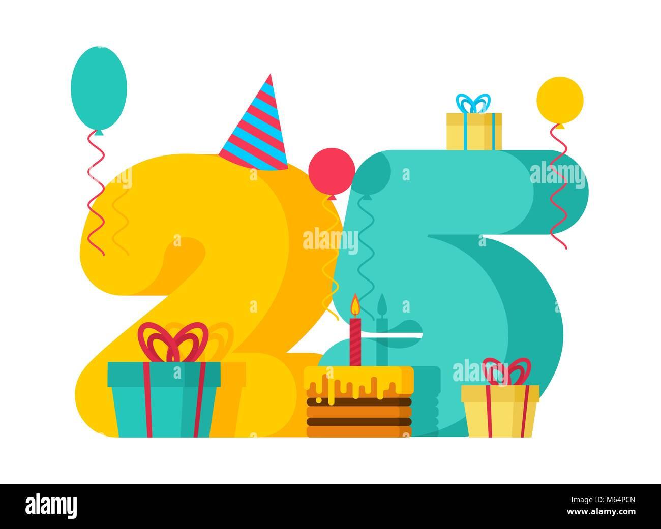 25 Year Happy Birthday Greeting Card 25th Anniversary Celebration