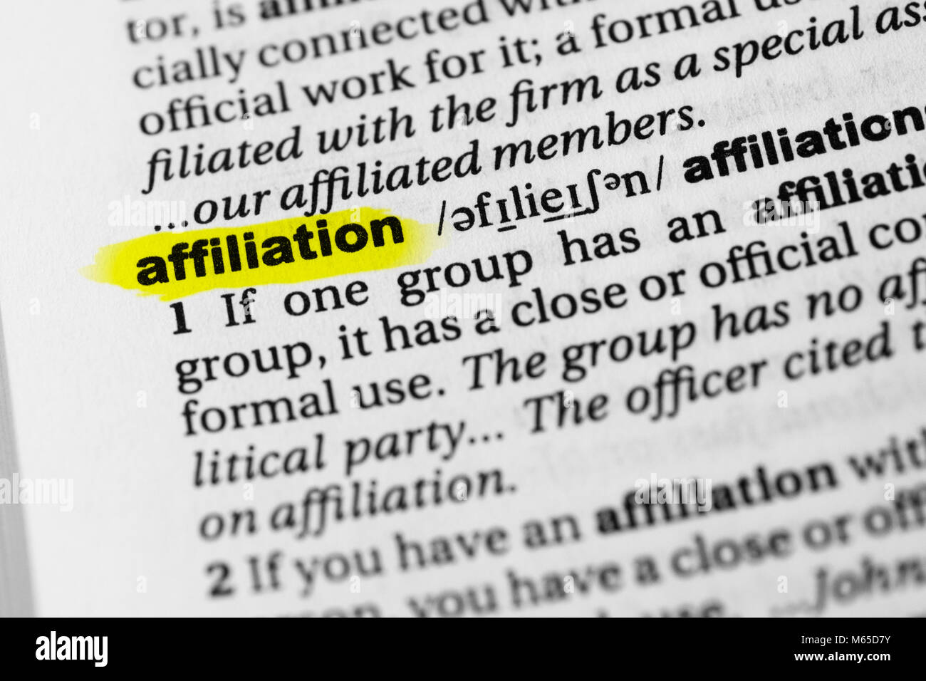 Highlighted English word 'affiliation' and its definition in the dictionary. - Stock Image