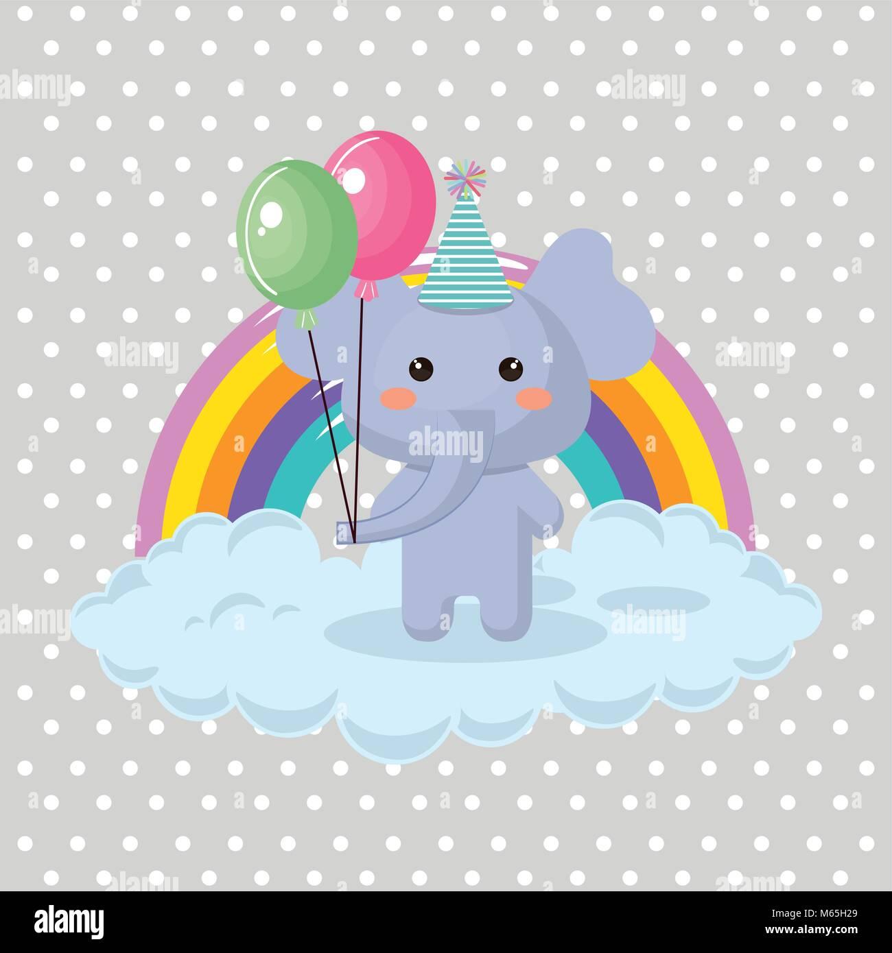 Cute Elephant With Balloons Air Party Sweet Kawaii Birthday Card