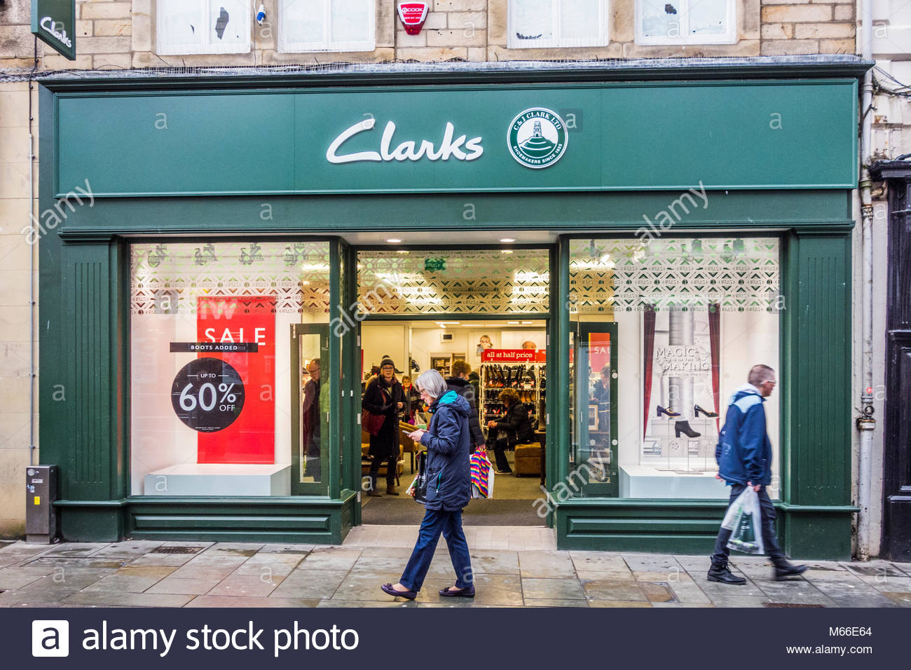 A branch of the Clarks shoe shop in Penny Street, Lancaster, UK Stock Photo