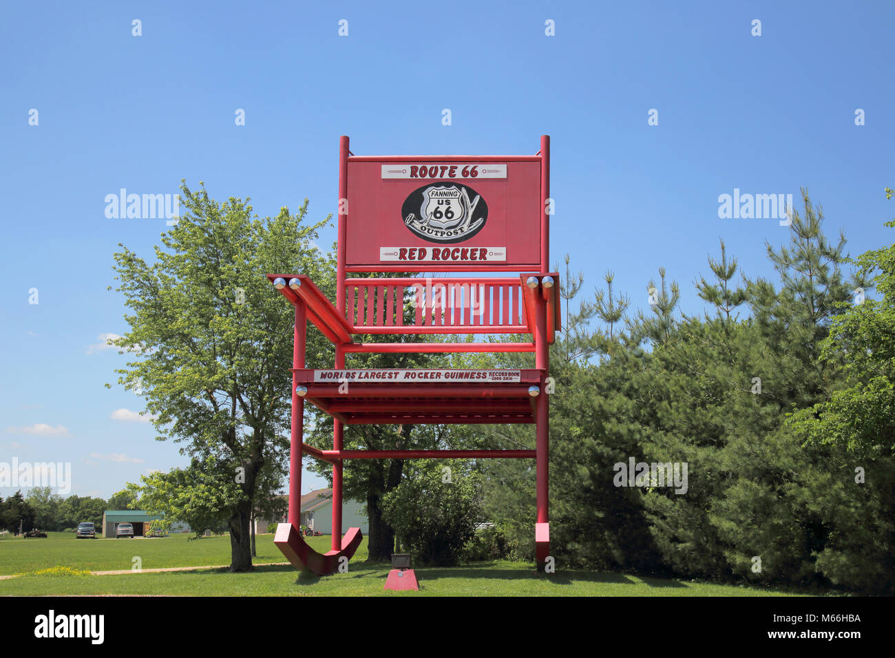 giant rocking chairs in fanning outpost on route 66 missouri Stock Photo