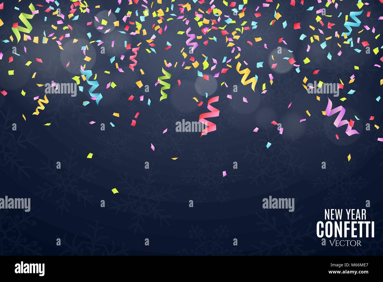 many falling multicolored confetti and ribbons on a dark blue background celebratory background on birthday new year and snowflakes glare bokeh pl