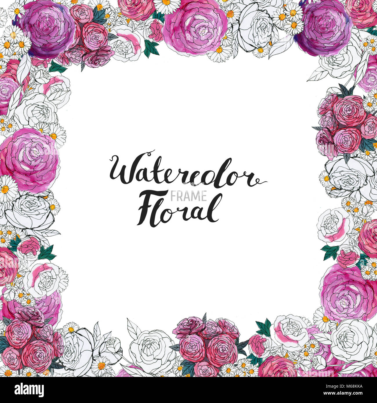 Watercolor Floral Background. Hand Painted Border Of
