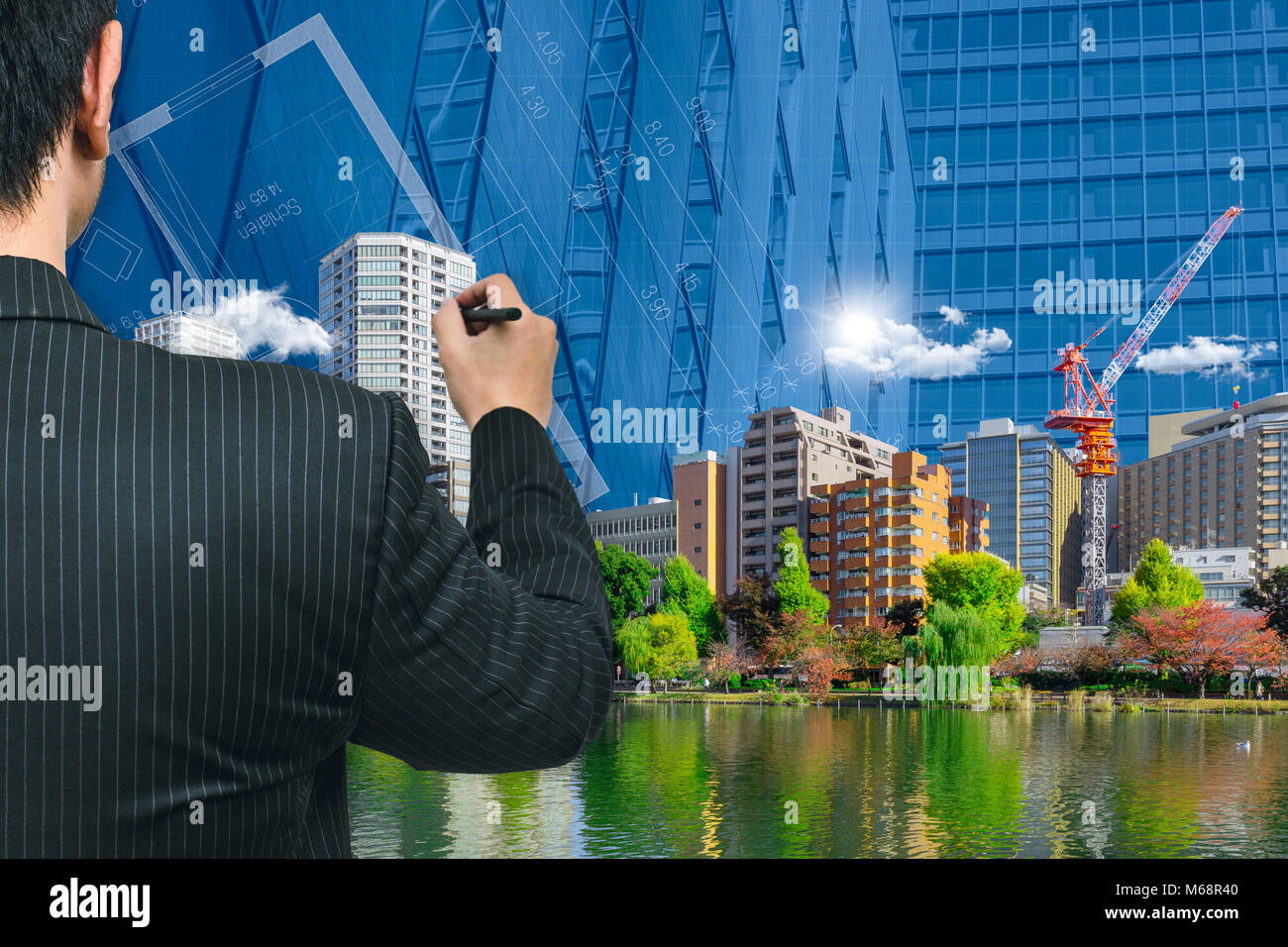Architecture Drawing Eco City Green Environment  Park building new metro concept. - Stock Image