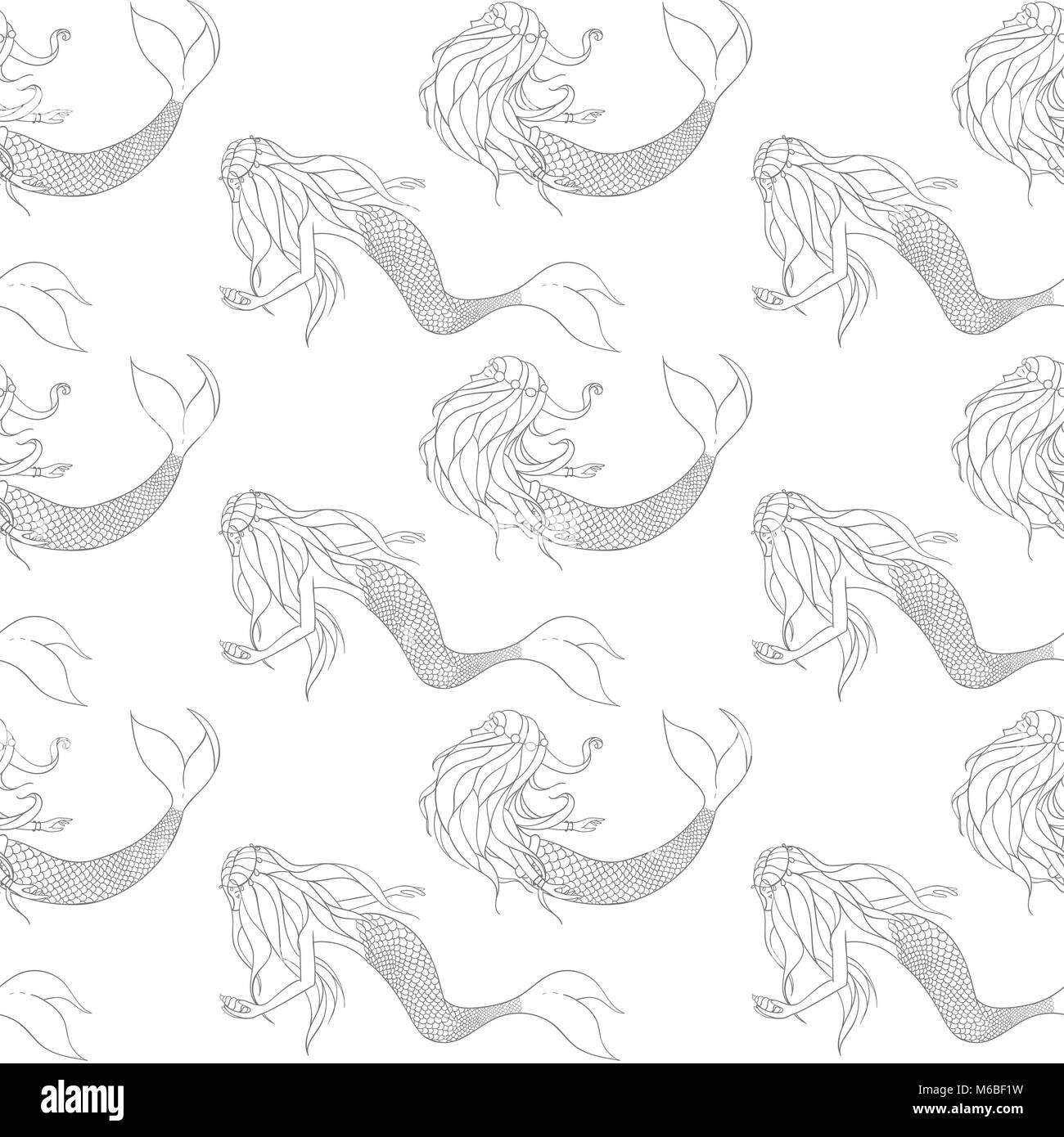 Beautiful mermaids contours vector seamless pattern. Underwater mythical creatures on the white background. - Stock Image