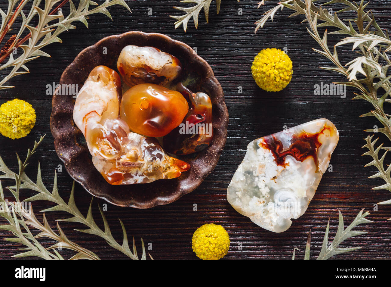 Fire Agate on Dark Table with Craspedia - Stock Image