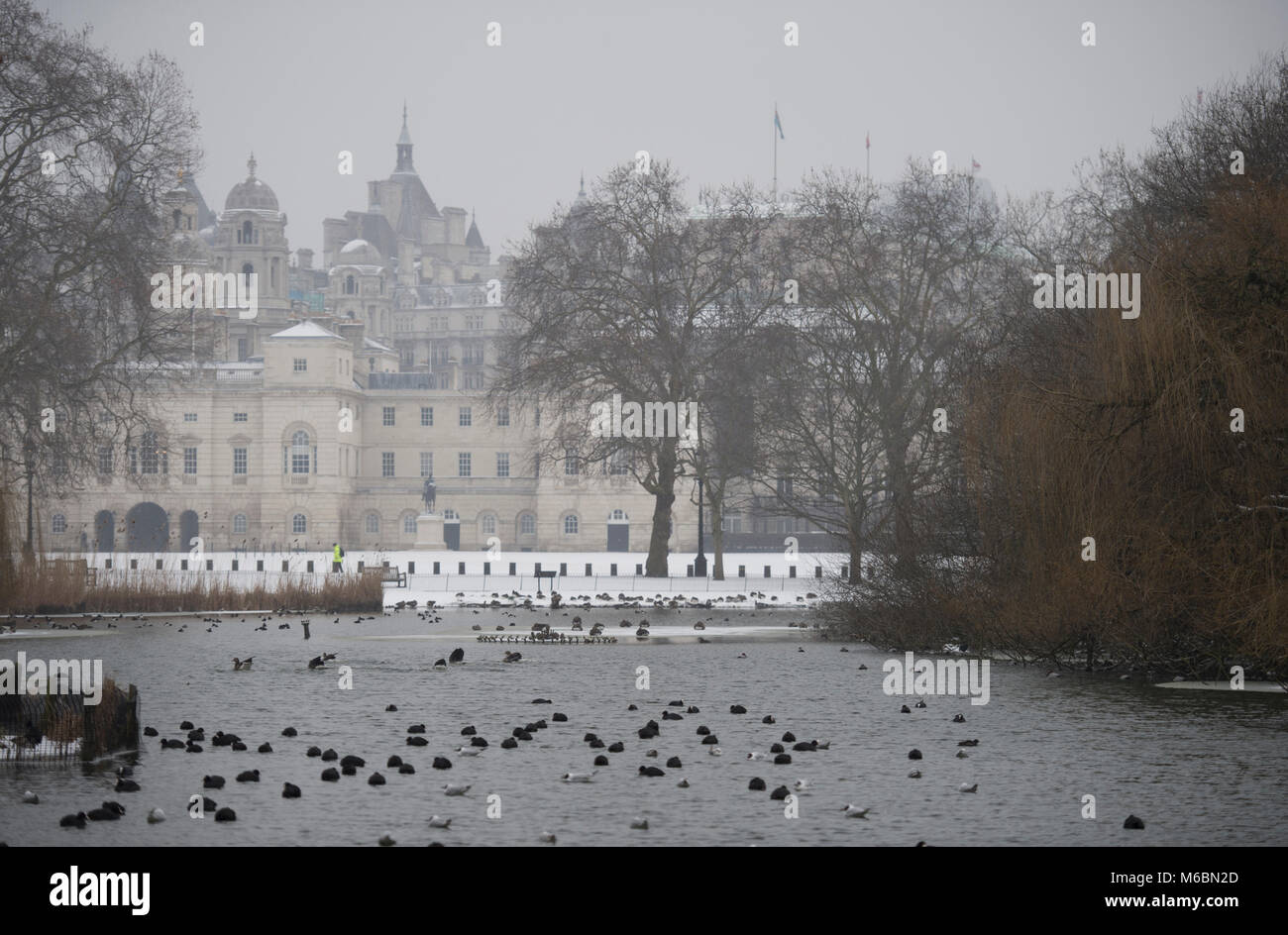 1 March 2018. St James's Park Lake, Westminster, in freezing conditions after overnight snowfall, London, UK. - Stock Image
