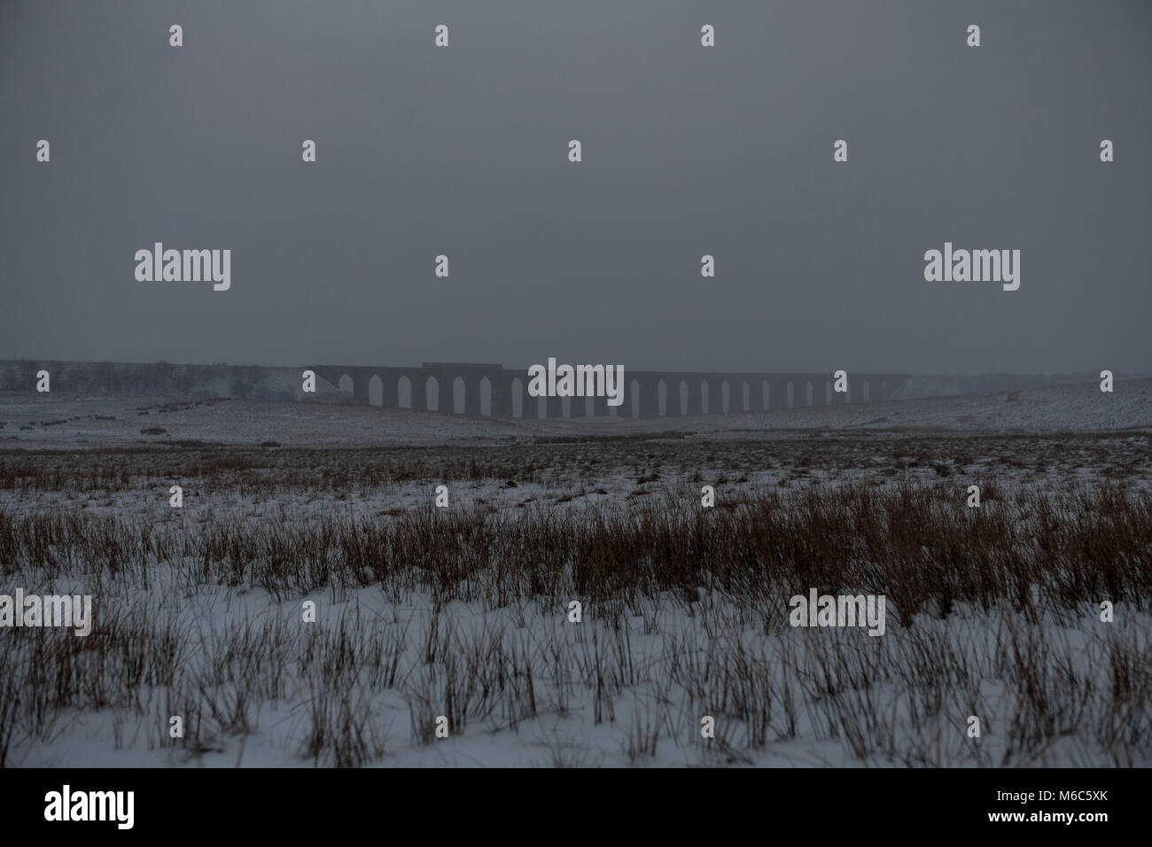 A Northern Rail class 158 express sprinter train crosses  Ribblehead viaduct  at dusk in the snow - Stock Image