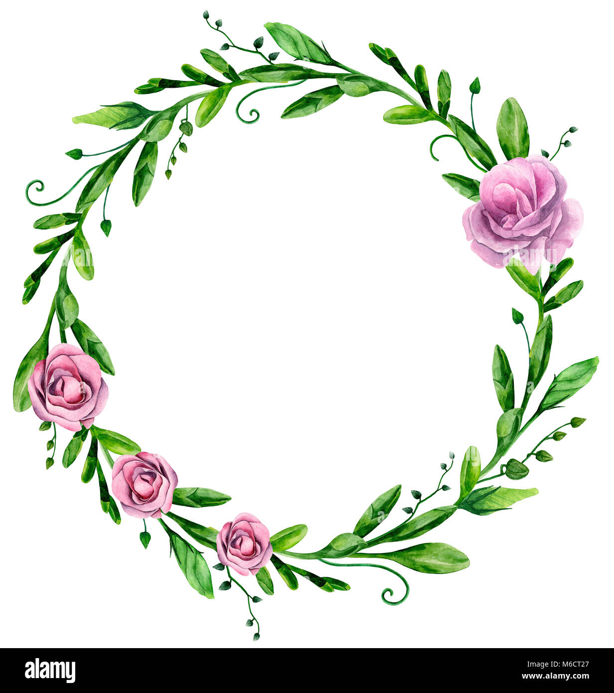 Watercolor greenery wreath with pink flowers. Floral arrangement clip art - Stock Image