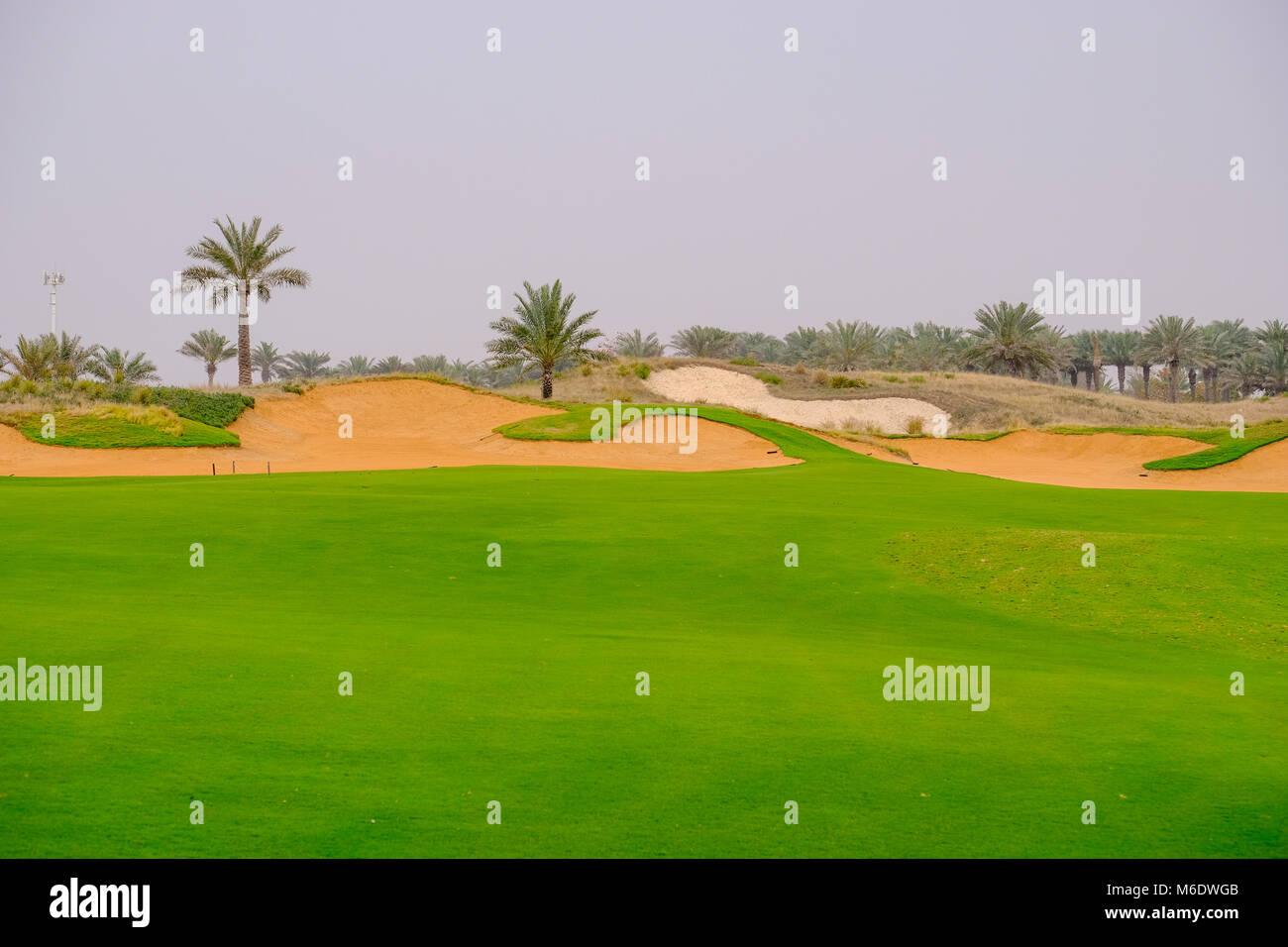 Saadiyat Beach Golf Course, 18 Hole, Par 4, Saadiyat Island Abu Dhabi Stock Photo