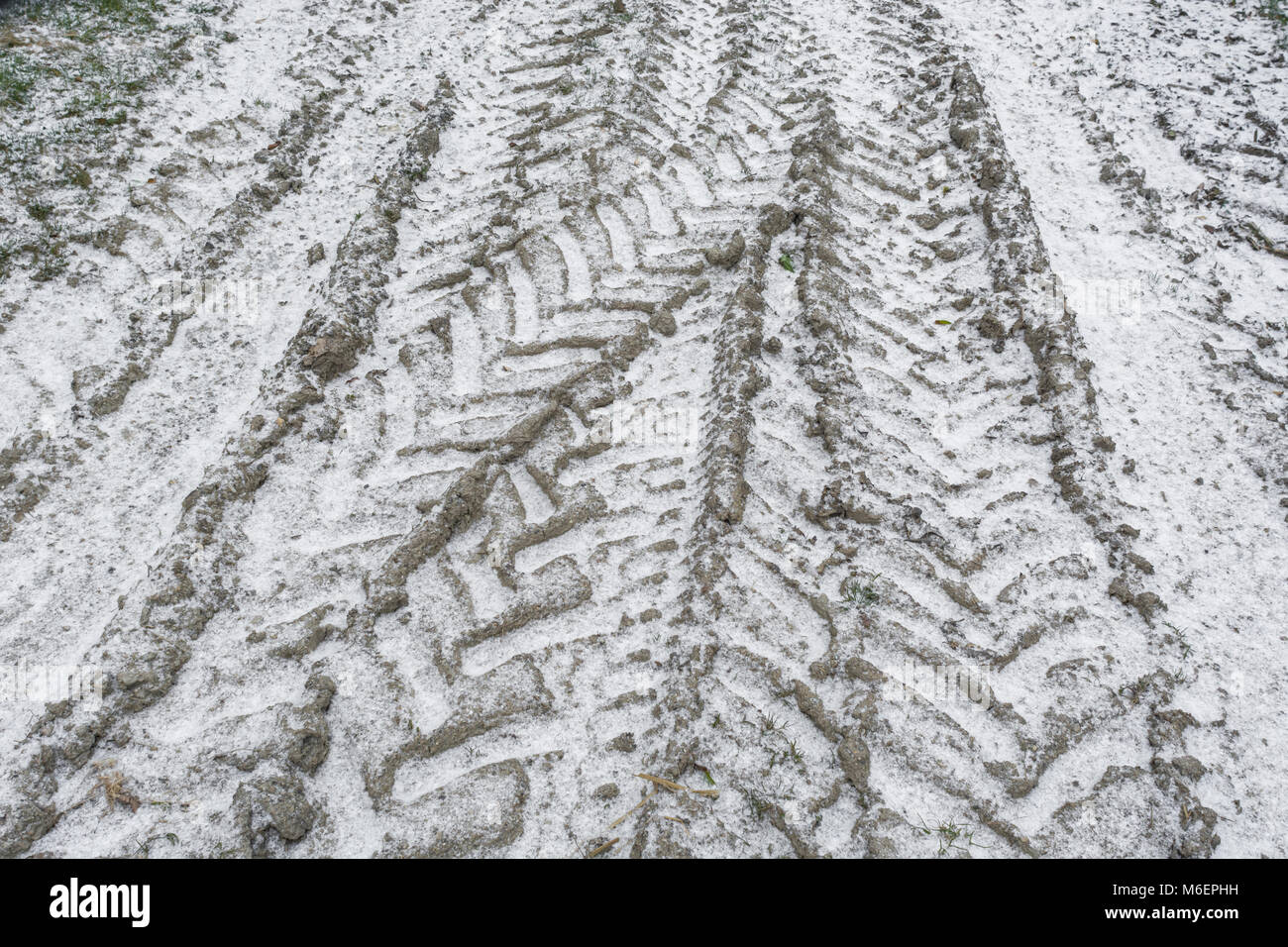 Snow covered tractor tracks during 'Beast from the East' - potential for disrupting farming and agriculture. - Stock Image