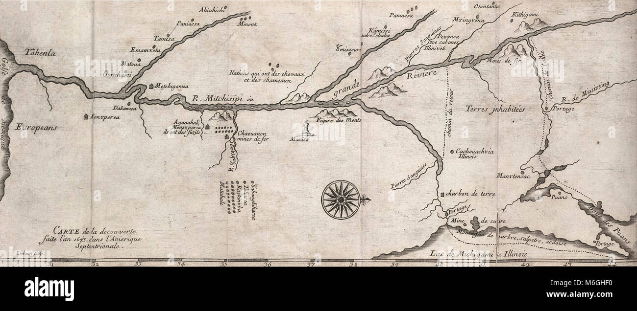 North America Map Mississippi River.1681 Map Of The Mississippi River System Based On The 1673