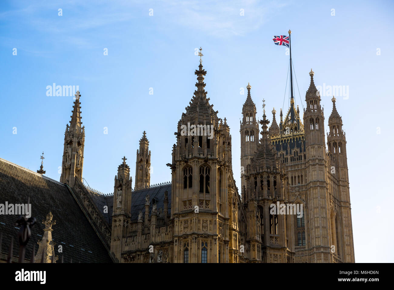 Architectural detail of Palace of Westminster - London, England - UK - Stock Image