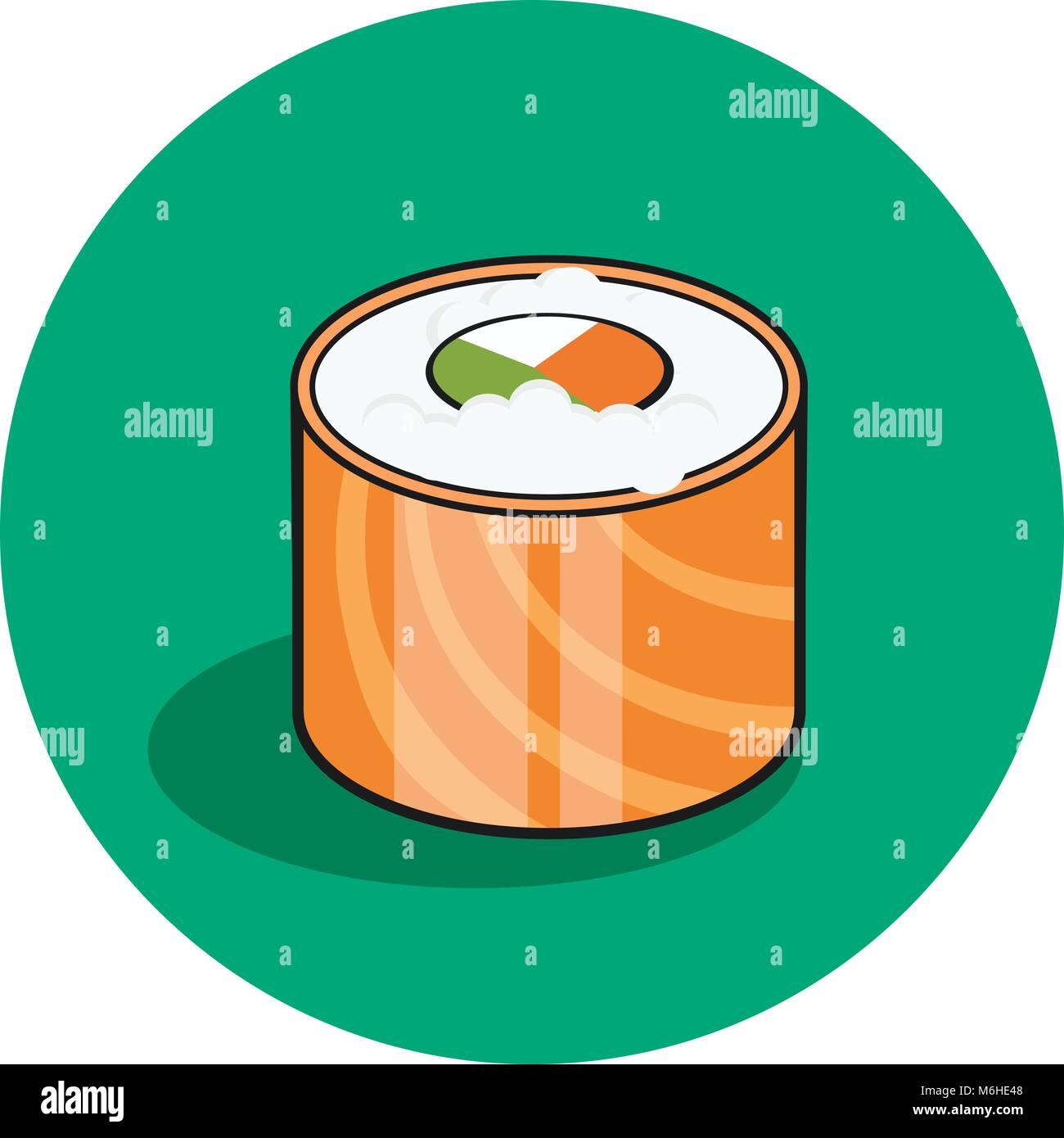 Philadelphia Sushi Japanese Traditional Food Icon With
