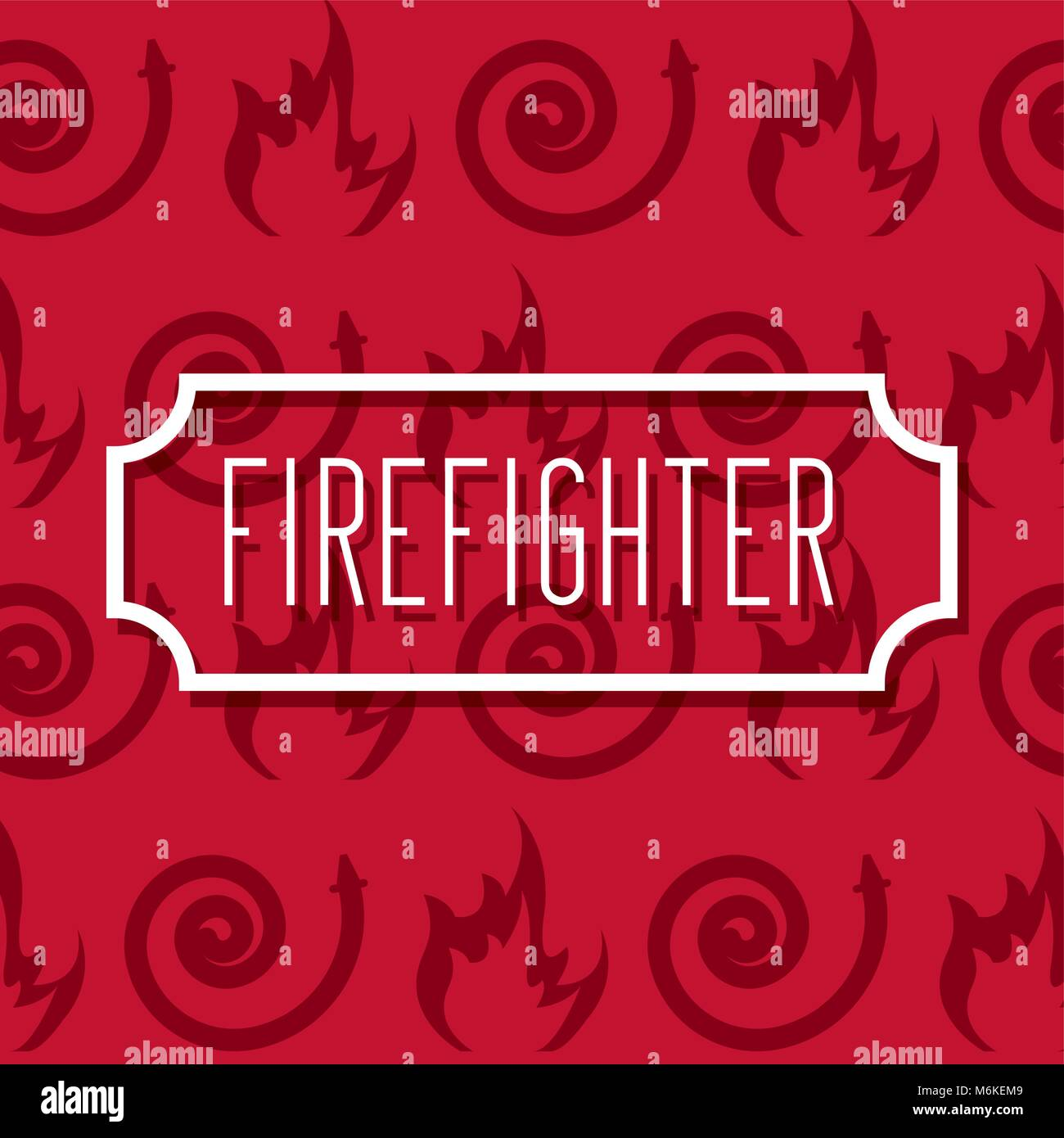 label inscription firefighter profession work - Stock Image