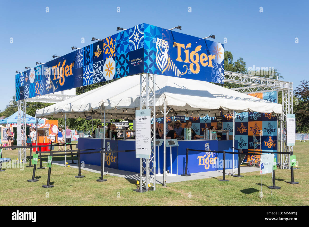 Tiger Beer tent at 'Noodle night markets' event in North Hagley Park, Christchurch, Canterbury, New Zealand - Stock Image