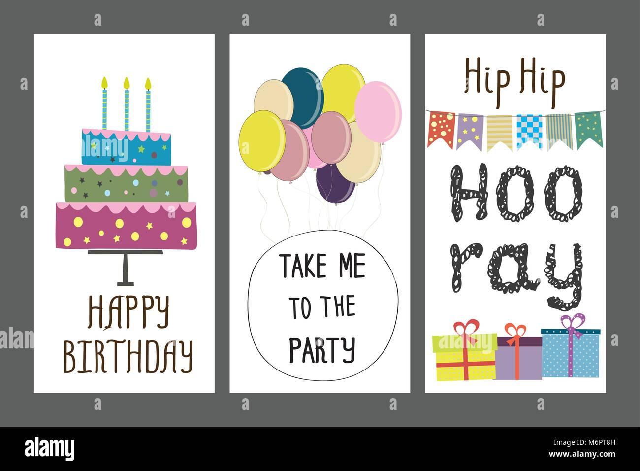 Happy Birthday Holiday Greeting And Invitation Card