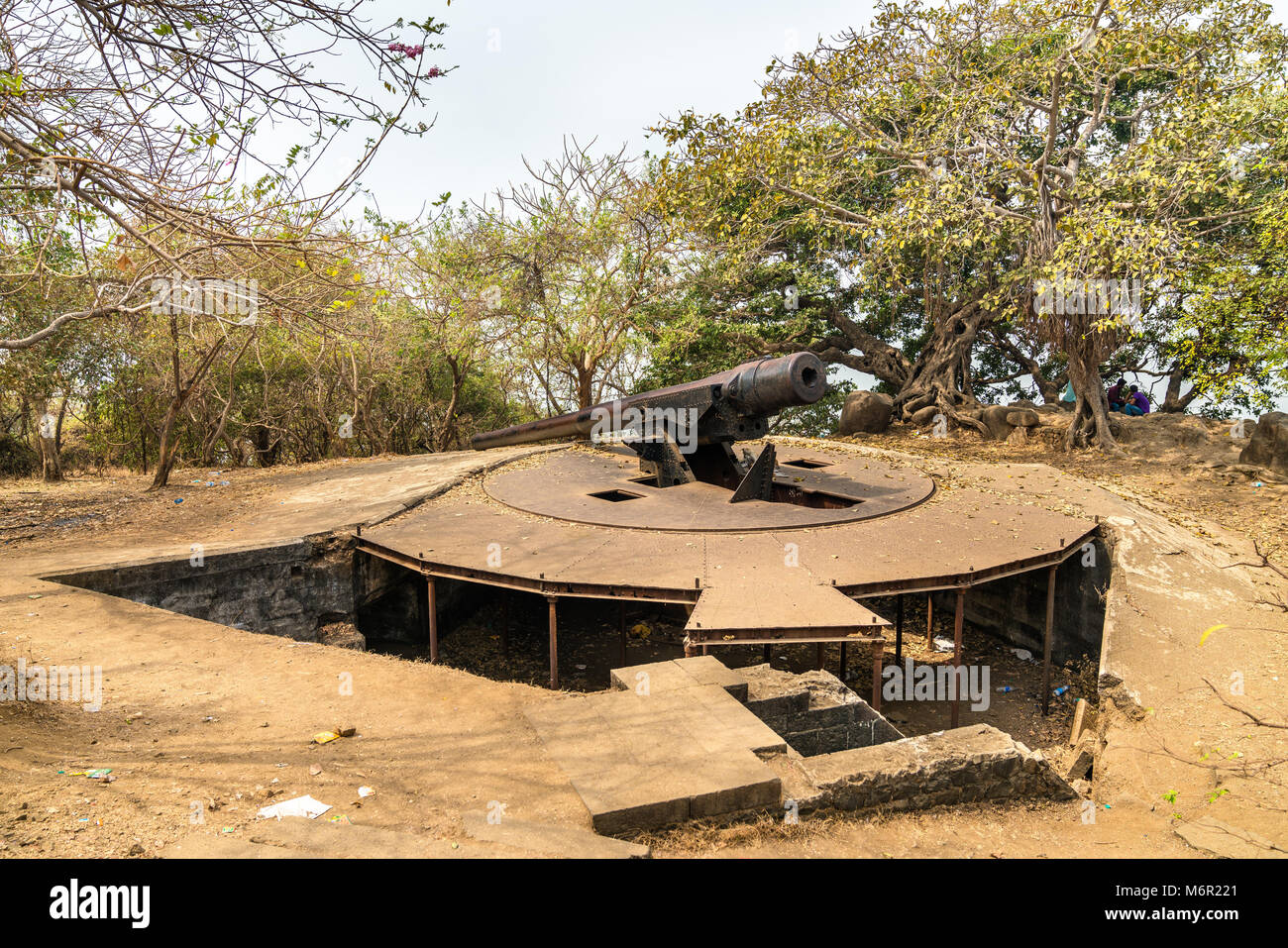 Cannon Point on Elephanta Island - Mumbai Harbour, India - Stock Image