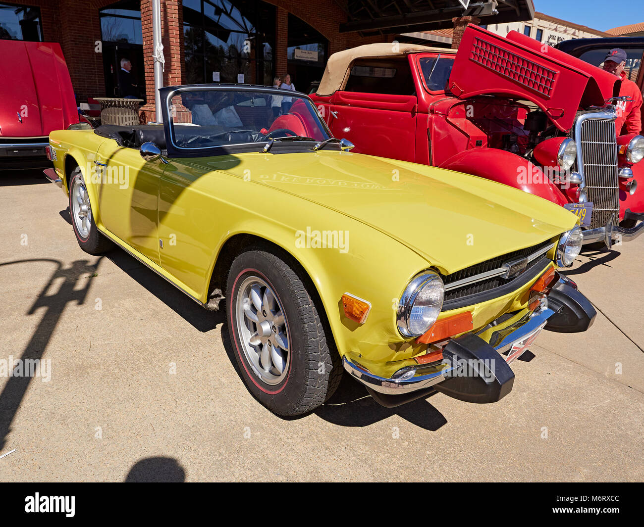 1975 Triumph TR6 convertible sports car on display at a vintage British classic car club show in Pike Road, Alabama, - Stock Image