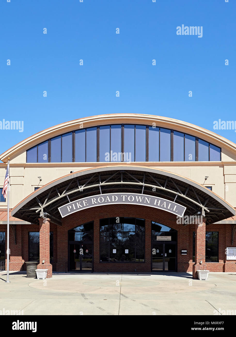 Pike Road Town Hall entrance in the small town of Pike Road, Alabama, USA. - Stock Image