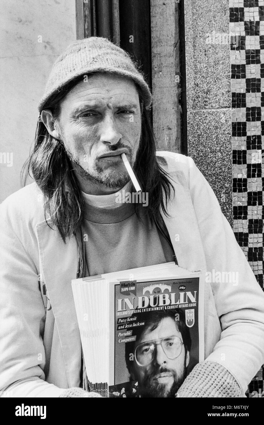 In Dublin magazine seller outside Bewleys on Grafton Street, Dublin City center, Ireland, Archival photograph from Stock Photo