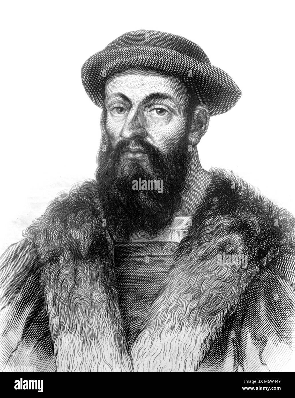 Ferdinand Magellan (1480-1521), engraving of the Portuguese explorer who organised the Spanish expedition to the - Stock Image