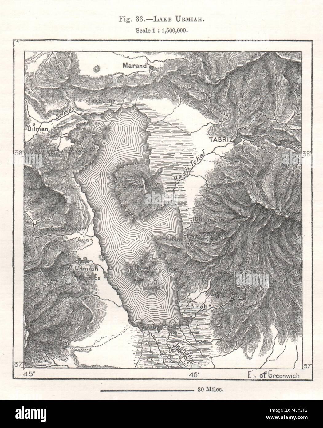 Lake Urmia Iran Sketch map 1885 old antique vintage plan chart