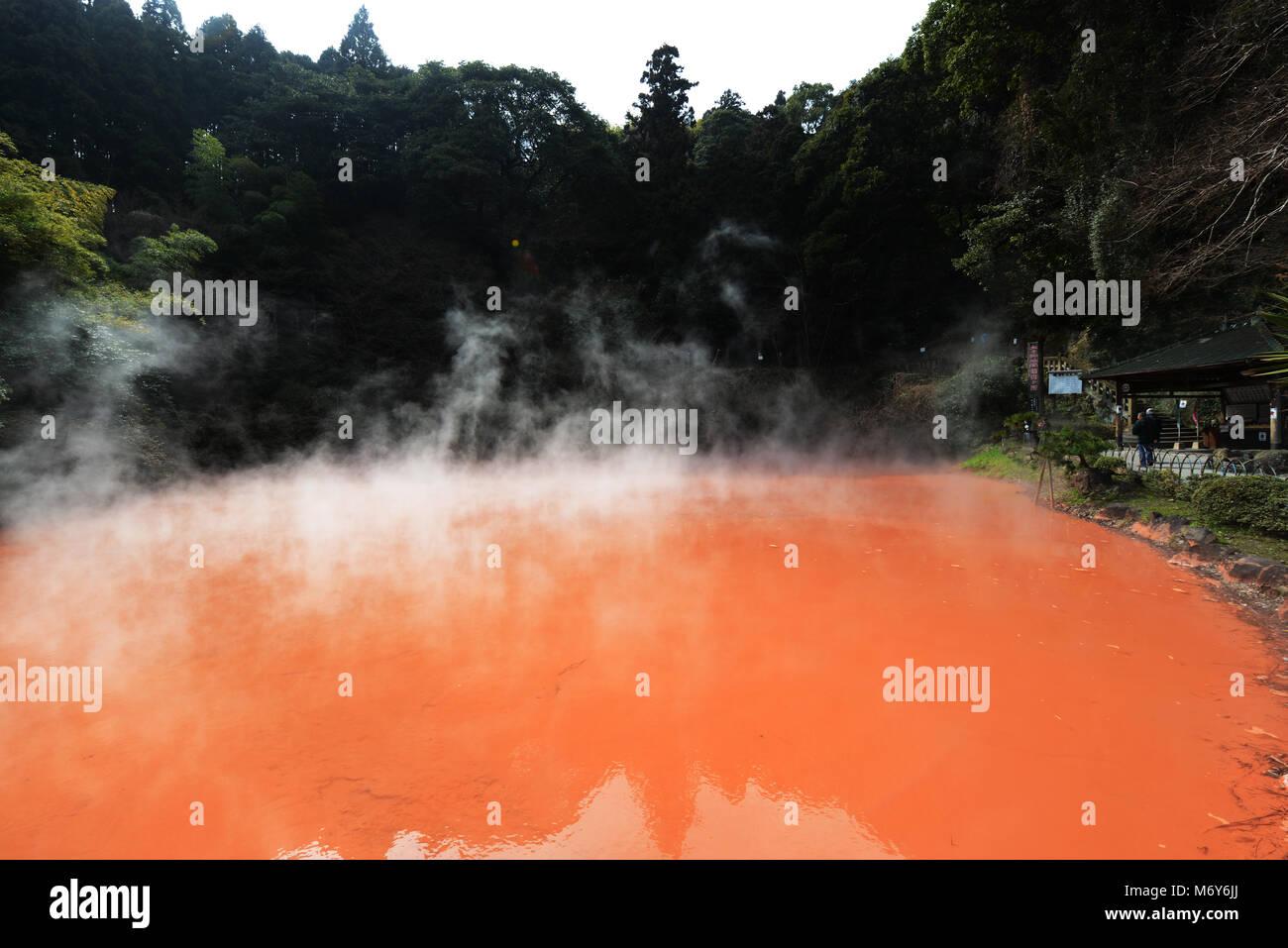 Chi-no-ike Jigoku ( Blood Pond) is the oldest Jigoku spring in Japan. - Stock Image