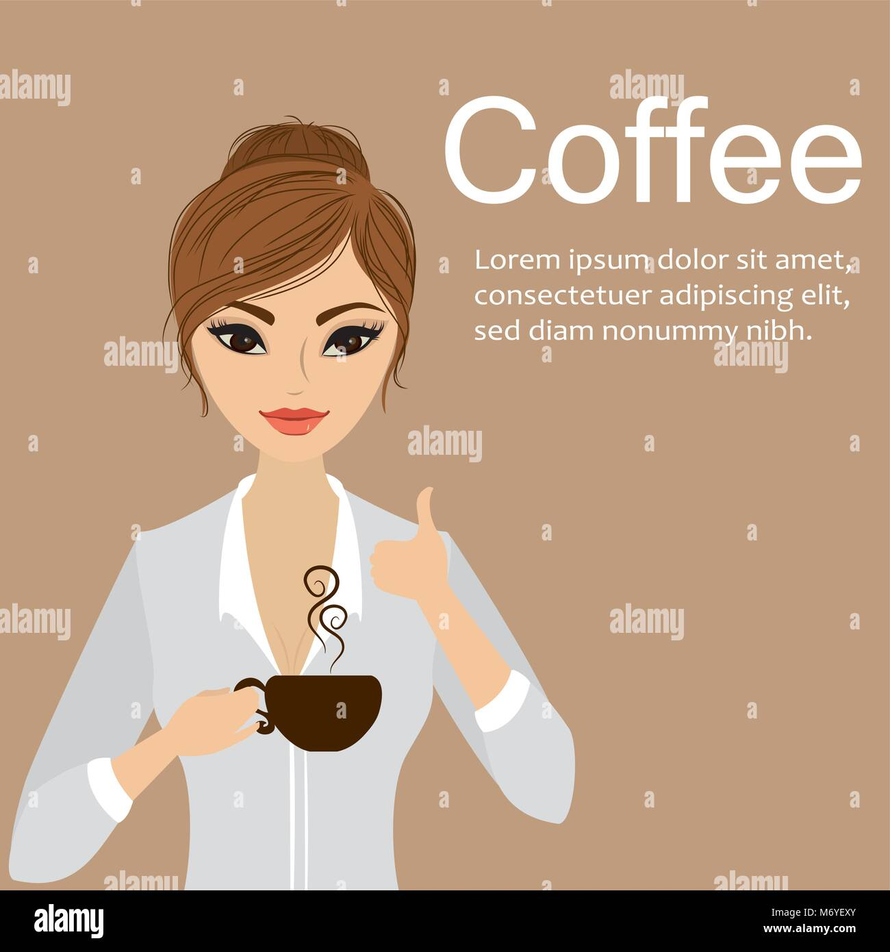 Pretty girl holding a cup of coffee,cartoon stock vector illustration.