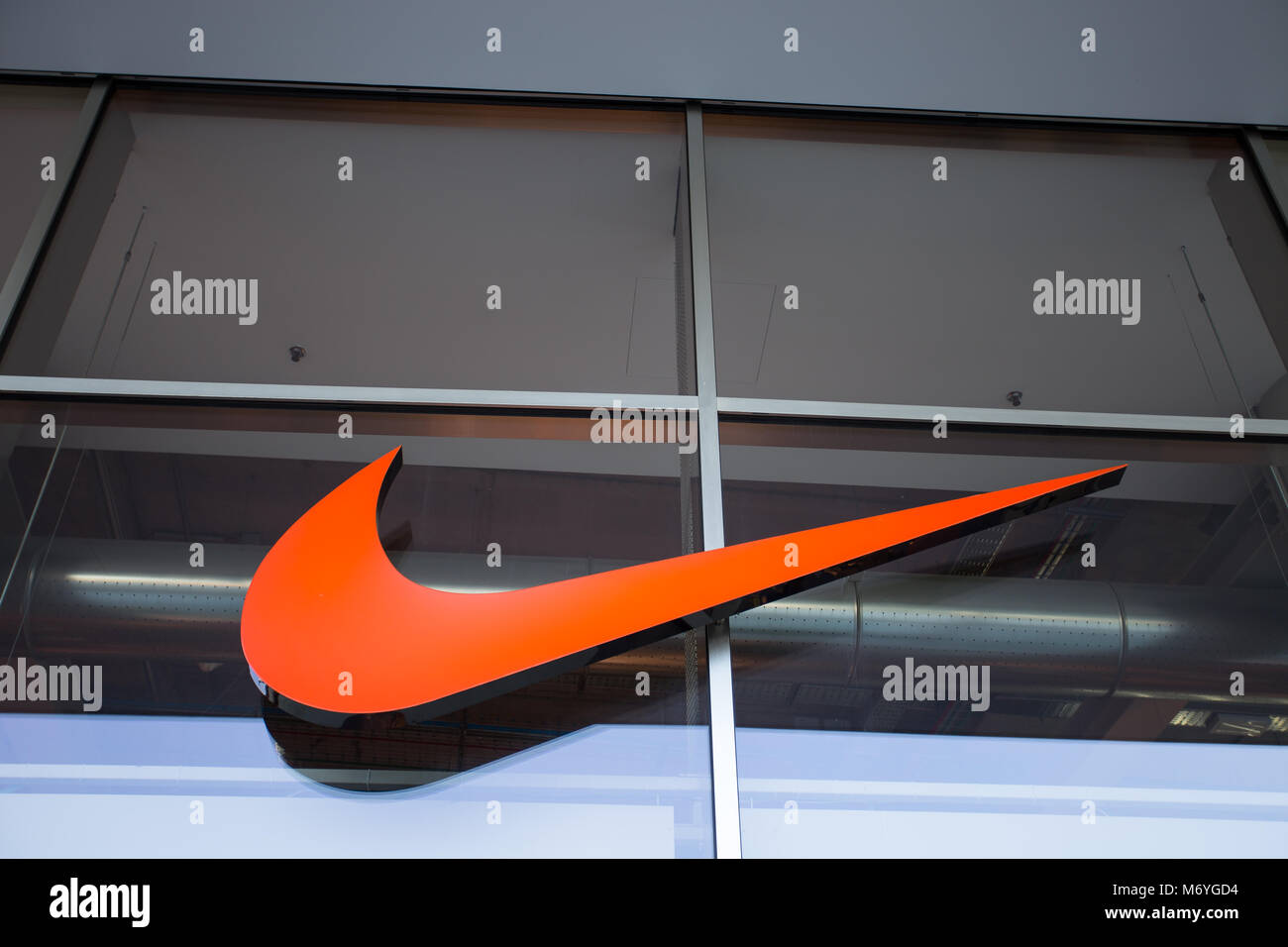 MILAN, ITALY, MARCH 28, 2017 Nike brand logo. Nike is a global