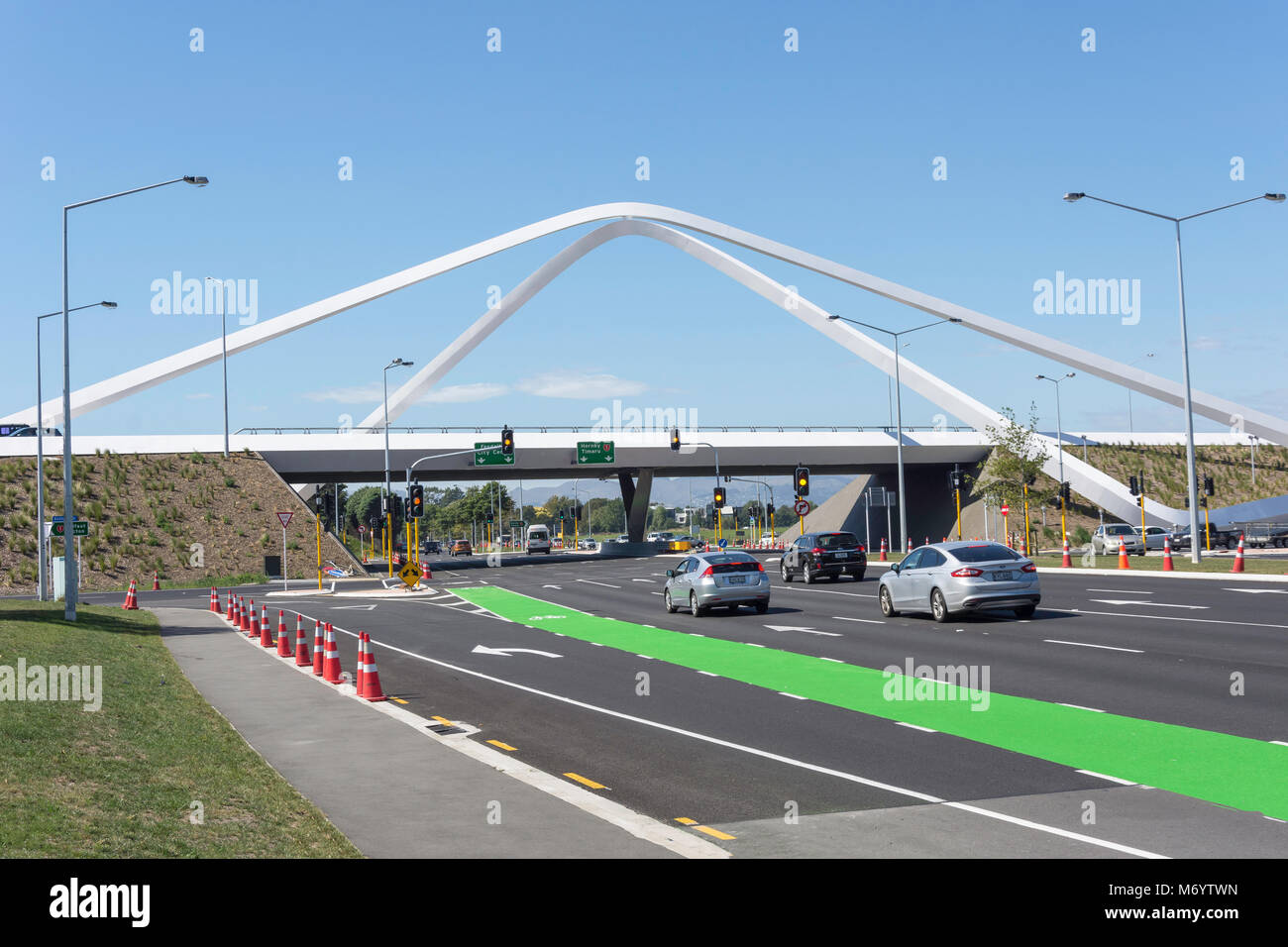 Russley Road flyover from Memorial Avenue, Harewood, Christchurch, Canterbury, New Zealand - Stock Image
