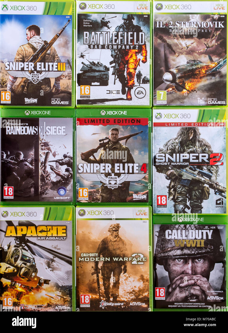 Collection of violent first-person shooter video games for Xbox 360 and Xbox One - Stock Image