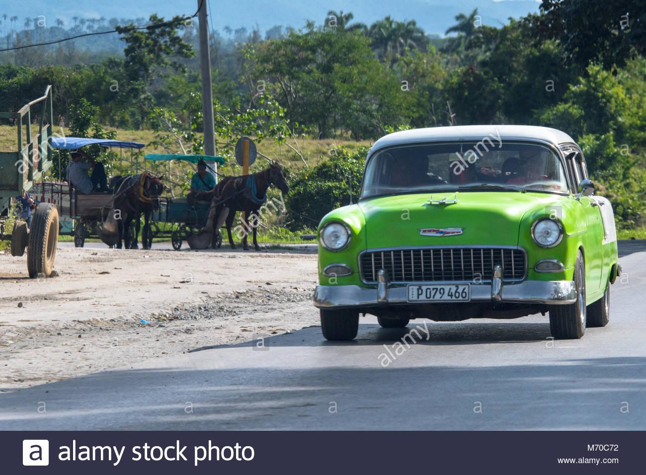 Villa Clara Cuba January 1 2018 Old Vintage American Cars Still