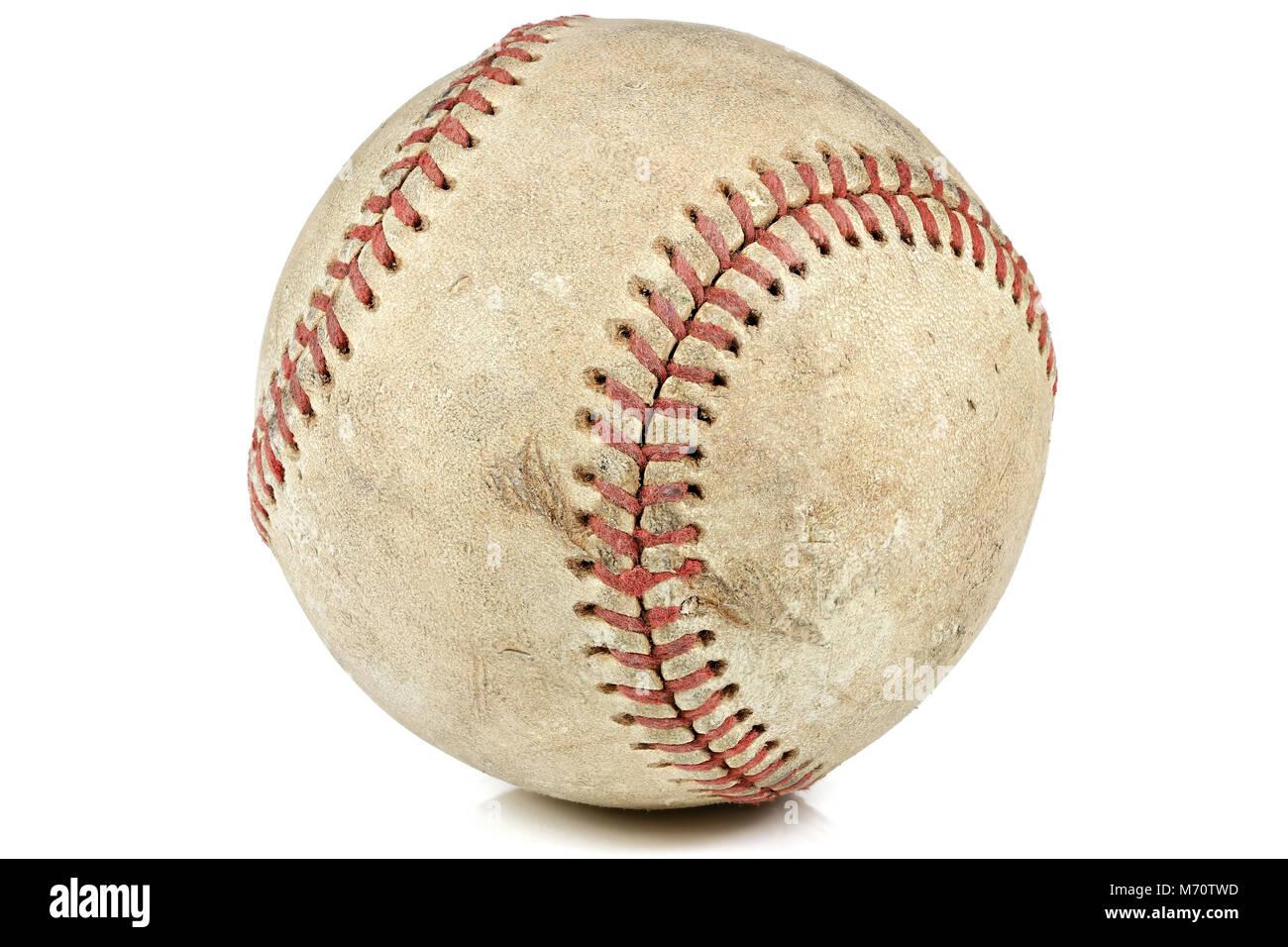 worn baseball isolated on white background Stock Photo